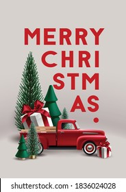 Christmas composition with christmas trees, vintage toy red pickup truck and gift box.