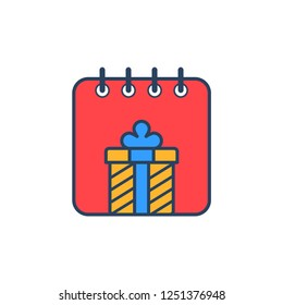 Christmas concept colorful calendar with christmas ornament flat vector design
