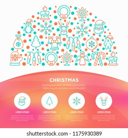 Christmas concept in half circle with thin line icons: Santa Claus, snowflake, reindeer, wreath, polar bear in hat, angel, mitten, candle, penguin, garland. Vector illustration, web page template.