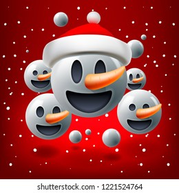 Christmas concept for people teamwork, red background with group of smiley snowman emoticon with Santa's hat, emoji, vector illustration.