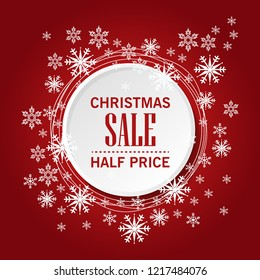 Christmas concept. Christmas Sale graphic with red background and snowflakes