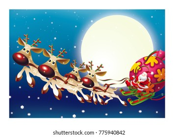 Christmas concept. Santa Claus driving his sleigh on winter and full moon night.