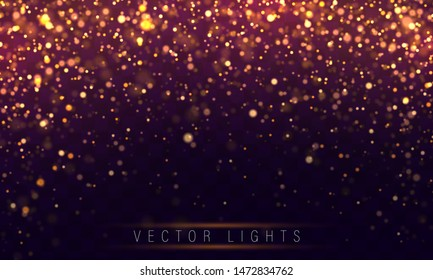 Christmas concept Xmas greeting card. Magic holiday poster, banner. Festive purple and golden luminous background with colorful lights bokeh.  Night bright gold sparkles Vector Light abstract