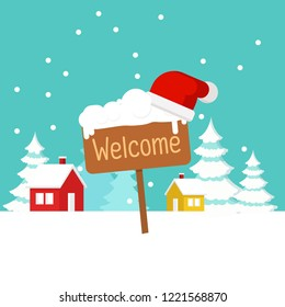 Christmas concept,Cute cartoon background - Happy New Year, welcome with wooden direction sign and Santa Claus hat on falling snow and snow flake background, Happy New Year