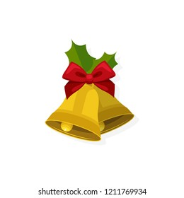 Christmas concept,Golden Christmas bells with red bow