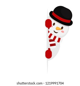 Christmas concept,Vector of fun snowman hiding by blank isolated