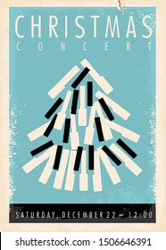 Christmas concert retro poster design idea wit Christmas tree made from piano keys. Vintage vector illustration for classical music festival.