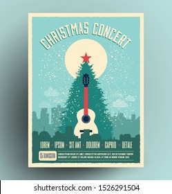 Christmas concert retro poster flyer design template for live musical event with christmas tree and acoustic guitar at city landscape. New year holiday theme vector illustration.