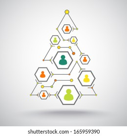 Christmas connecting people via the Internet in the form of a Christmas tree