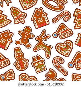 Christmas cookie and sweets seamless pattern of gingerbread man, gift box, xmas tree, snowman, candy cane, bell, santa hat, bow, heart, deer, rocking horse. New Year dessert background design