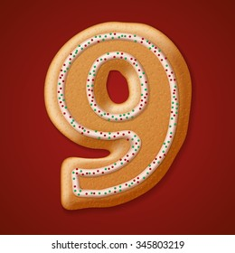 Christmas cookies numbers and character. Vector illustration EPS10