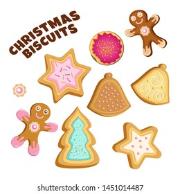 Christmas cookies on a transparent background. Vector set of isolated objects.