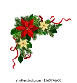 Christmas corner decoration with Christmas holly garland, red. Vector.