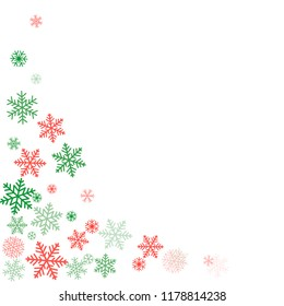 Christmas corners background with snowflakes and place for text. Winter red and green snow minimal decoration on white, greeting card. New Year Holidays backdrop. Vector illustration EPS 10