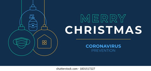 Christmas coronavirus ball banner. Christmas events and holidays during a pandemic Vector illustration. Covid-19 prevention