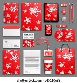 Christmas corporate identity template set. Business stationery mock-up with logo. Branding design.