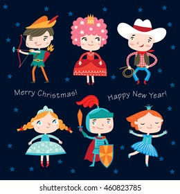 Christmas costume party. Set of girls and boys wearing fairytale costumes.