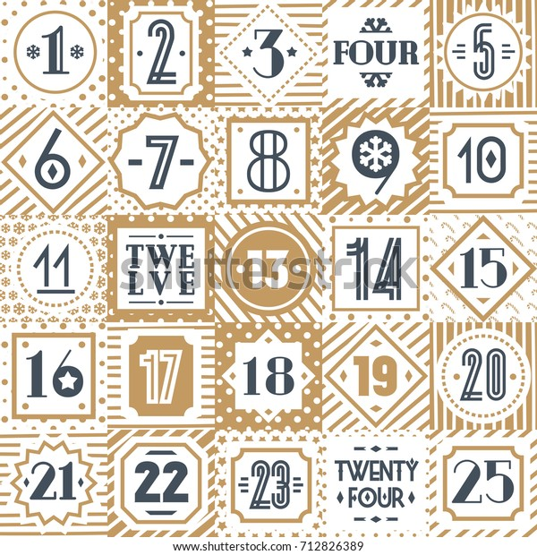 picture relating to Countdown Printable called Xmas Countdown Printable Tags Variety Gold Inventory