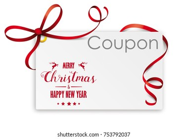 Christmas coupon card on the checked background. Eps 10 vector file.