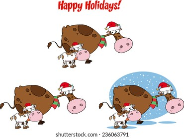 Christmas Cow and Calf Cartoon Character. Vector Collection Set