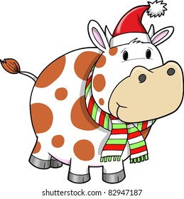 Christmas Cow Holiday Vector Illustration
