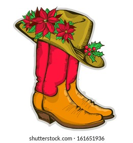 Christmas Cowboy boots and western hat with holiday decoration.Vector illustration