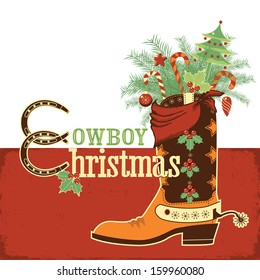 Christmas cowboy boot.Vector western illustration with text