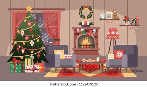 Christmas cozy living room interior with tree and gift boxes. Cute decoration and fireplace. Vector flat illustration