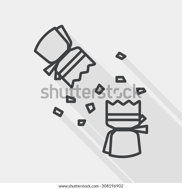 Christmas cracker flat icon with long shadow, line icon