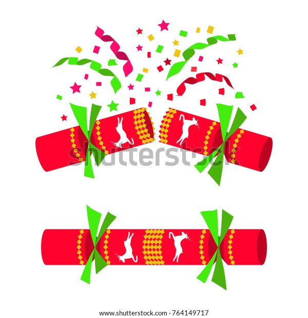 Christmas cracker isolated in white background. Set is closed, open with serpentine sparkles. Ready to pull and blow. Festive fun. Merry Christmas and Happy New Year. Vector illustration flat design.