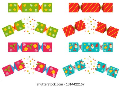 Christmas cracker vector set isolated on a white background.