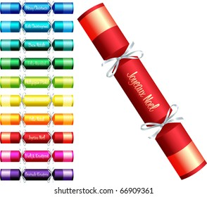 Christmas crackers with 'Merry Christmas' in ten different languages in a variety of colours on a white background.