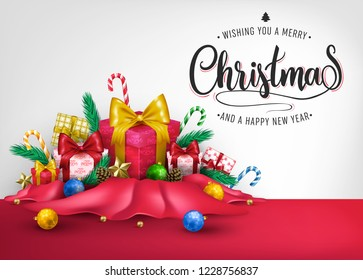 Christmas Creative 3D Realistic Banner Design with Wishing You A Merry Christmas and A Happy New Year Message and Other Elements in Red Cloth for Holiday Season. Vector Illustration