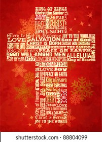 christmas cross bright christmas background with christmas greetings in the shape of the cross