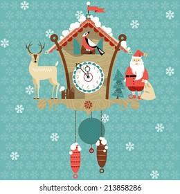 Christmas cuckoo clock. Vector illustration.