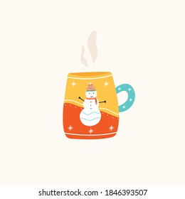 Christmas cup or mug of hot drink with cute snowman and winter decoration. Vector illustration in flat cartoon style.