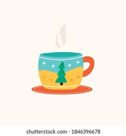 Christmas cup or mug of hot drink with cute fir tree and winter decoration on plate . Vector illustration in flat cartoon style.