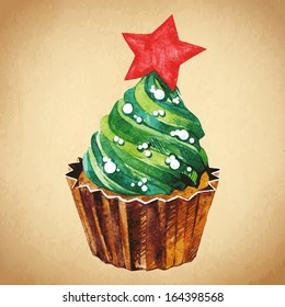 Christmas cupcake with holly berry. Vector illustration. Watercolor illustration. Traditional yummy Christmas dessert. Christmas vintage retro food