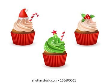 Christmas cupcakes set. Vector illustration