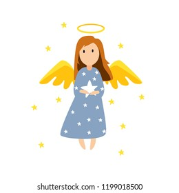 Christmas cute angel. Vector Christmas card with angel. Vector design for greeting cards and invitations.