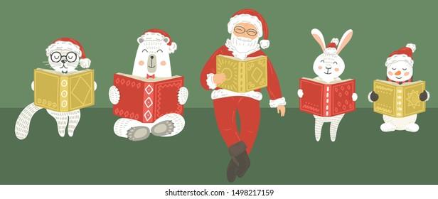 Christmas cute animals with Santa Claus reading books. Children Christmas illustration.