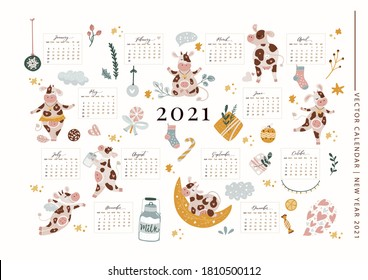 Christmas cute cartoon cow vector 2021 calendar template illustration with hand drawn animals and decorations. New Year 2021 ornate greeting poster for a3, a4, a5 sizes.