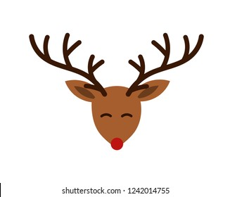 Christmas cute cartoon reindeer head with antlers and red nose illustration.