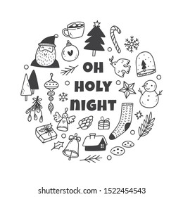 Christmas cute doodle set, hand drawn icons collection