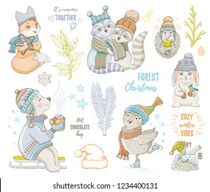 Christmas cute forest animals: fox owl raccoon bear hedgehog. Hand drawn trendy doodle icon set. Merry Xmas & Happy New year cartoon sketch. Vector illustration isolated white backgraund with slogan