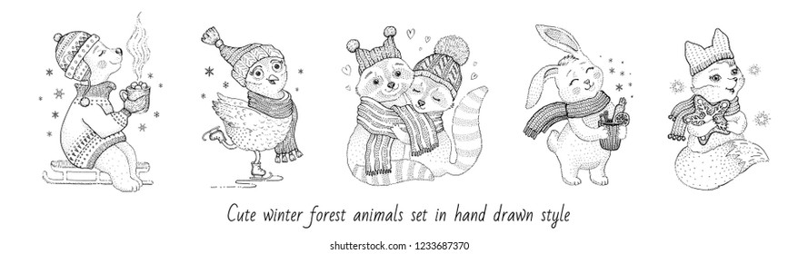 Christmas cute forest animals: hedgehog bear owl raccoon couple rabbit. Hand drawn trendy doodle icon set. Merry Xmas & Happy New year cartoon sketch. Vector illustration isolated white backgraund