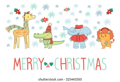 Christmas cute icons and animals winter background vector set