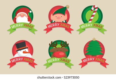 Christmas cute icons, elements and illustrations