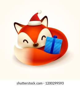 Christmas Cute Little Fox with Red Santa's Cap and Gift Present. Red Fox Curled Up.