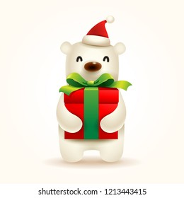 Christmas Cute Little Polar Bear with Santa's Cap and Gift Present.